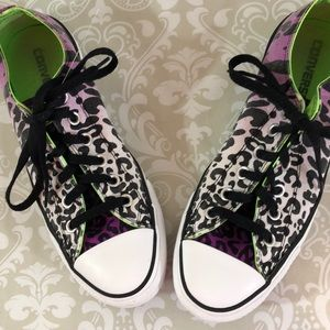 Purple Leopard Animal Converse Size 9